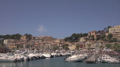 Waterfront boat marina, Port of Soller, Mallorca, Spain Stock Footage