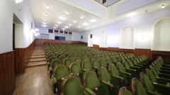 Many green chairs at the Academic song and dance ensemble of Russian MIA Stock Footage