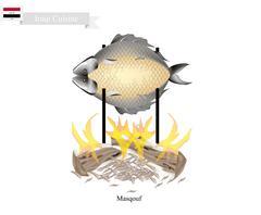 Masqouf or Delicious Iraqi Grilling Carp Fish Stock Illustration