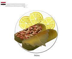 Dolma or Iraqi Stuffed Meat in Grape Leaves - stock illustration