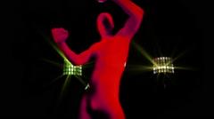 glow uv neon sexy disco fancyman morphsuit robot electronic toy - stock footage