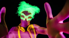 Glow uv neon sexy disco man party music Stock Footage