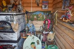Rebuilding the image of the internal decoration of the house of Baba Yaga Stock Photos
