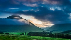 Foggy dawn over the mountains of Glencoe in Scotland, 4k, timelapse Stock Footage