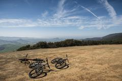 Bicycles on hill, San Luis Obispo, California, United States of America - stock photo