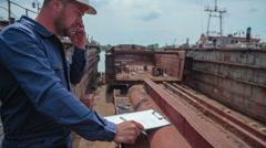Shipbuilder timelapse Stock Footage