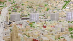 New Arbat Street with buildings in miniature Moscow on exhibition VDNKh Stock Footage