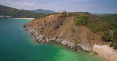 Ya Nui And Nai Harn Beaches In Phuket Pullback Aerial Footage Stock Footage