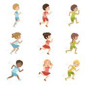 Kids Running Set - stock illustration