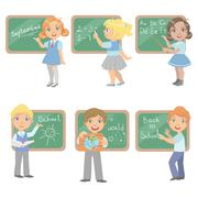Kids Writing On Blackboard Set - stock illustration