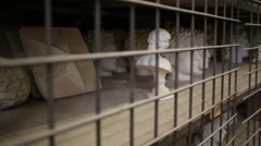 Rows of gypsum heads behind lattice on shelves in workshop. Stock Footage