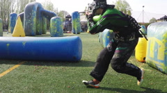 Editorial use. Paintball action, Rallenty , Army Paintball Psp , Softair . N. - stock footage