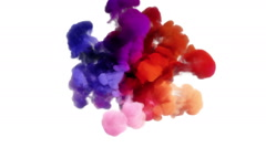 Colored smoke explosion on white Stock Footage