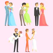 Couples Getting Married - stock illustration