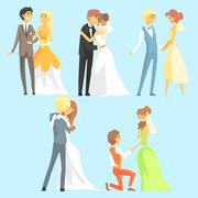 Brides And Grooms Couples - stock illustration