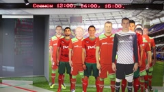 Players football teams Lokomotiv in cardboard photo in full growth Stock Footage