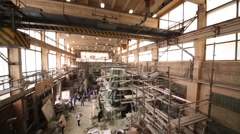 Panorama of workshop with parts of sculpture of konung Stock Footage