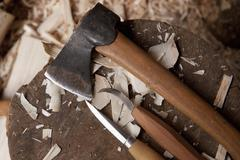 Woodworking tools, close-up - stock photo