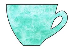Cup of tea and coffee. Handmade. Watercolor, Mixed media. Cut paper. Stock Illustration