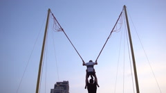 Having Fun on Rope Jumping on a Glorious Day Stock Footage