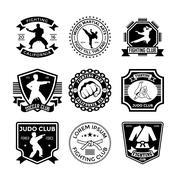 Judo Vector Icons Stock Illustration