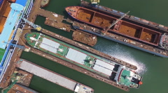 Shipyard with a bird's-eye view, the reconstruction of the vessel Stock Footage