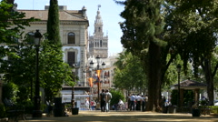View from Cristina park garden to Cathedral Stock Footage