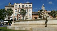 Fountain at Puerta de Jerez Stock Footage
