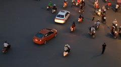 Time lapse of dangerous road traffic with pedestrians, bikes and cars Stock Footage
