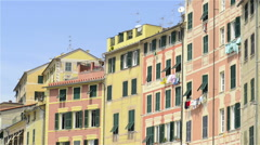 Colored buildings in camogli italian town dolly Stock Footage
