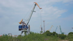 Work crane at the factory  taymlaps Stock Footage