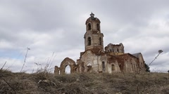 The ruined ortodox church. Time lapse Stock Footage