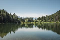View of lake and forests, British Columbia, Canada - stock photo