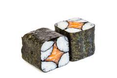 Simple sake maki sushi, two rolls isolated on white - stock photo