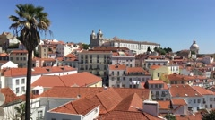 Lisbon city view from Miradouro das Portas do Sol Stock Footage