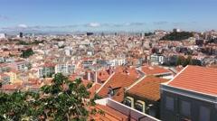 City view from Miradouro da Senhora do Monte in Lisbon Stock Footage