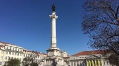 Statue at Praça do Rossio Stock Footage