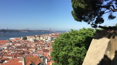 View from the Castelo de S. Jorge overlooking the historical center of Lisbon Stock Footage