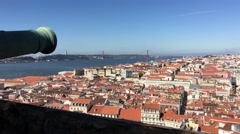 View from the Castelo de S. Jorge with a canon Stock Footage
