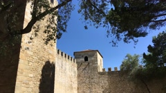 Tower at the Castelo de S. Jorge in Lisbon Stock Footage
