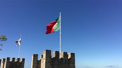Lisbon and portugal flag at the Castelo de S. Jorge Stock Footage