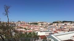 Lookout from Miradouro de São Pedro de Alcântara in Lisbon Stock Footage