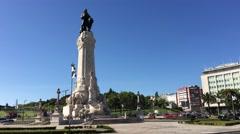 Praça do Marquês de Pombal in Lisbon Stock Footage