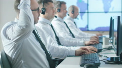 Team of Customer Support Professional in Call Center Office Stock Footage