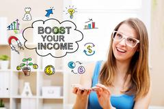 Boost Your Income  concept with young woman Stock Photos