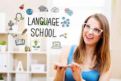 Language concept with young woman Stock Photos
