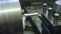 Manufacture of parts on a lathe Stock Footage