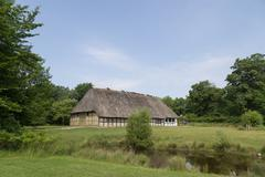 Ancient danish half-timbered farmhouse Stock Photos