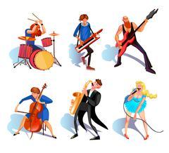 Musicians Cartoon Set Stock Illustration