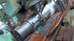 Work on a lathe to turn the camera shaft Stock Footage